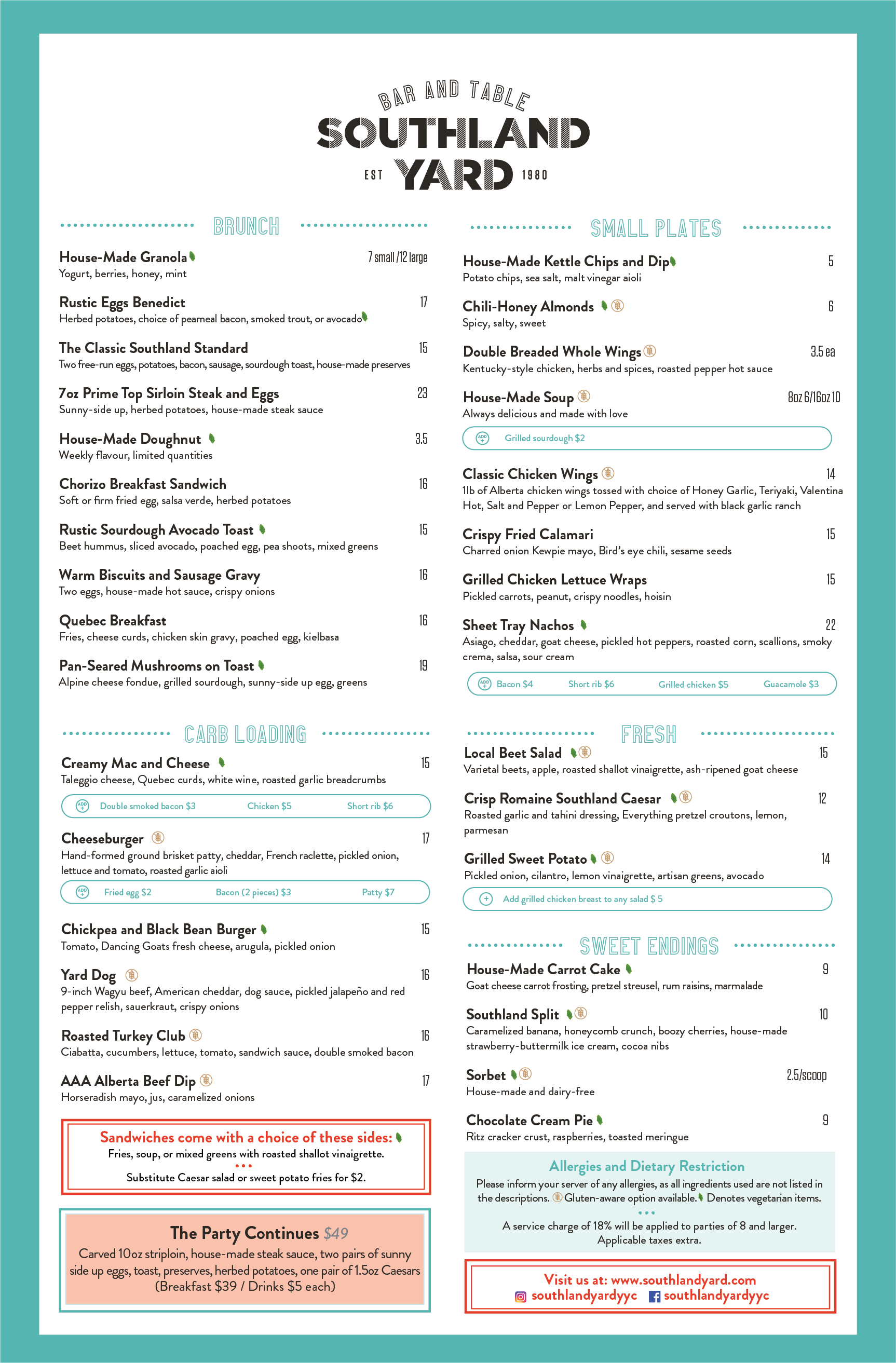 Southland Yard Brunch Menu