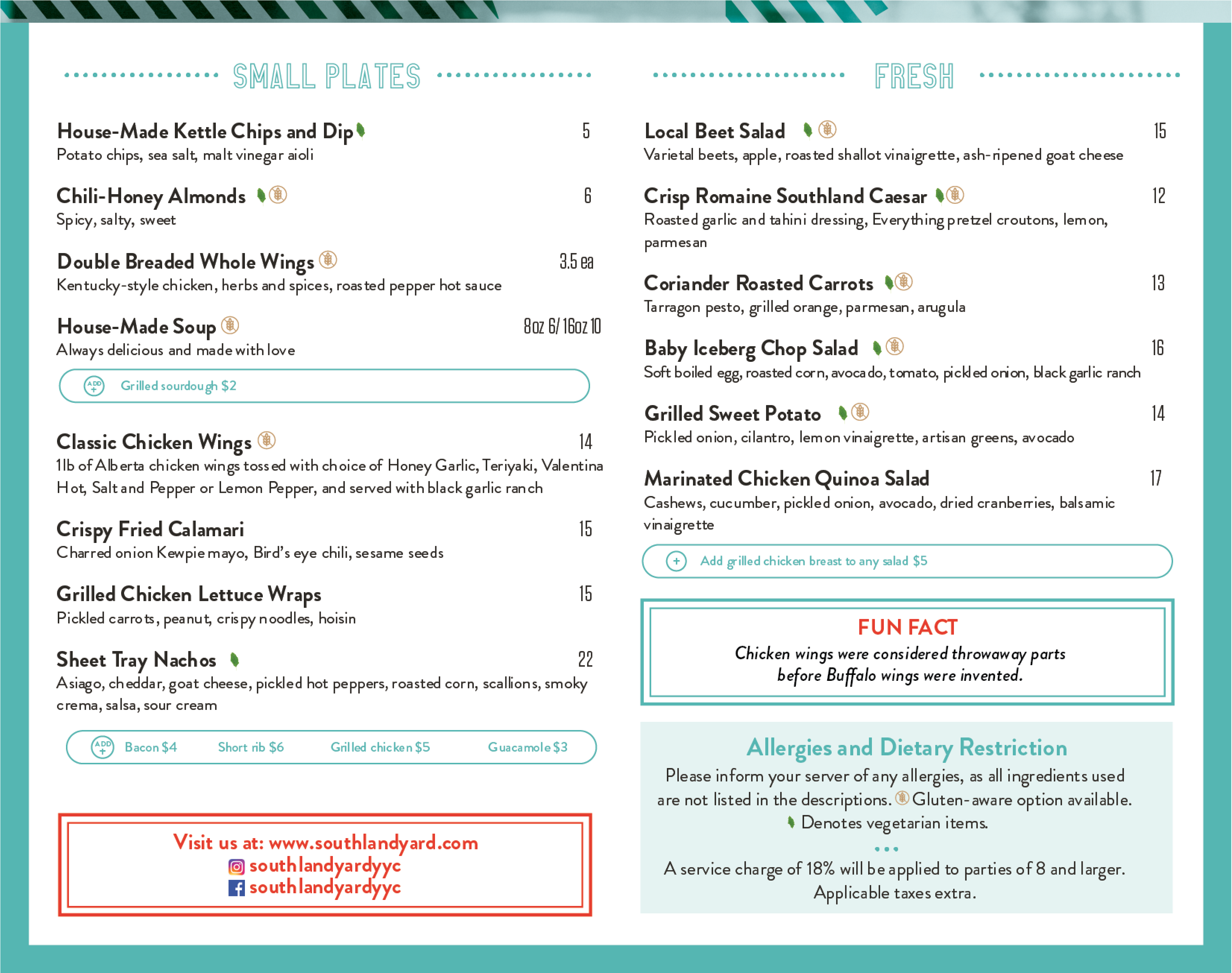 Southland Yard Lunch Menu 2
